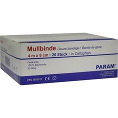 MULLBINDEN 8 cm m.Cellophan:   Packungsinhalt: 20 St Binden PZN: 03855512 Hersteller: Param GmbH Preis: 6,45 EUR inkl. 19 % MwSt. zzgl.…