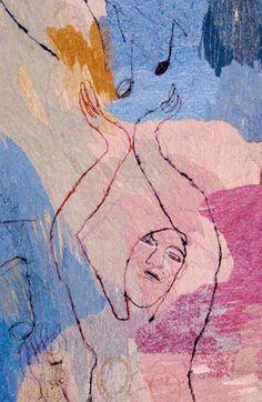 Alice Kettle - School of Music and Drama University of Manchester 3 Panels Main Panel Textile Fiber Art, Textile Artists, Free Machine Embroidery, Embroidery Art, Life Drawing, Figure Drawing, Textiles, Landscape Quilts, Art Portfolio