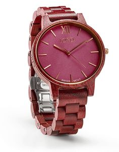 Minimalism has never equated to more. Create color in motion, a synchronized canvas of moments. Your time is your own. Find elegance with ease in the ultra slim case powered by a Swiss movement and enjoy the comfort of the straight line strap. The uncomplicated face allows focus, the streamlined shaping offers style. Wear time well with the Frankie Purpleheart & Plum.