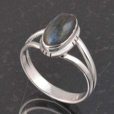 BLUE FIRE LABRADORITE 925 SOLID STERLING SILVER FASHION RING 3.39g DJR6383 #Handmade #Ring
