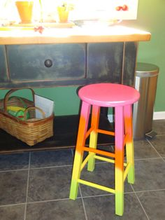 $40. Hand-painted OOAK Tropical Twist UpCycled Wood Stool, Side Table or Plant Stand in cheerful pink, orange, yellow, lime ombre tie dye via Etsy
