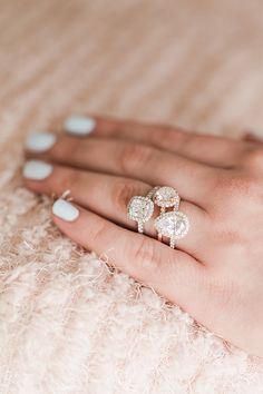 Different halo shape engagement rings by James Allen