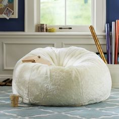 Ivory Luxe Fur Small + Large Beanbags from PBteen.