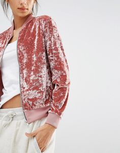 what to do with crushed velvet: bomber jacket