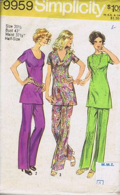 HALF SIZE Top Pants VINTAGE SEWING PATTERN SIMPLICITY SIZE 20.5 BUST 43 HIP 45.5