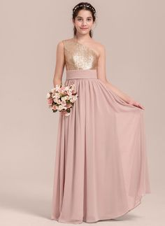 16b427c3563 A-Line Princess One-Shoulder Floor-Length Chiffon Junior Bridesmaid Dress  With