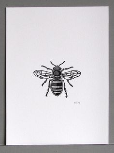 Bee Linocut Print // Handmade // Original by InkshedPress on Etsy