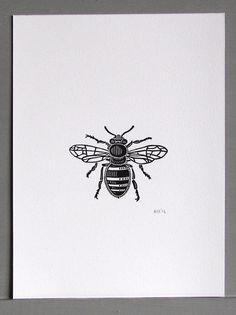 Bee Linocut Print by Inkshed Press