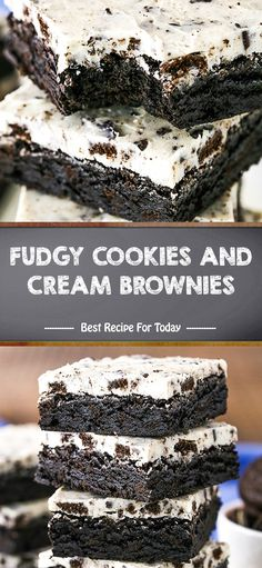 fudgy cookies and cream brownies Best Dessert Recipes, Fun Desserts, Delicious Desserts, Yummy Food, Eat Dessert First, Dessert Bars, Brownie Recipes, Cookie Recipes, Brownies