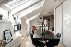 Open plan living space with dining table