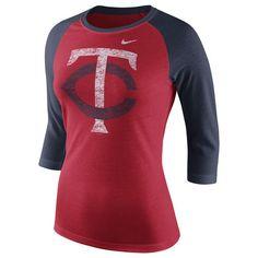 Women's Minnesota Twins Nike Red Logo Tri-Blend Three-Quarter Sleeve Raglan T-Shirt