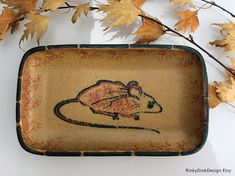 Vintage Honiton Pottery / shallow dish, plate / hand painted mouse design / cheese and biscuits / Julian Roebuck Animals Images, Shallow, 1970s, Biscuits, Porcelain, Pottery, Hand Painted, Plates, Cheese
