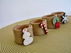 Christmas Napkin rings- cute for kids to make and kids table Christmas Napkin Folding, Christmas Napkin Rings, Christmas Napkins, Christmas Craft Fair, Christmas Love, Christmas Ornaments, Party Decoration, Xmas Decorations, Rustic Napkin Rings