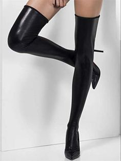 3b4563351a5 Women Wet Look Stockings Shiny Thigh Stockings Glossy PVC Stretchy  Stockings
