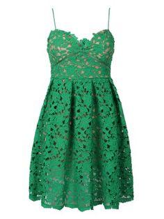 Shop Green Crochet Lace Spaghetti Strap Skater Dress from choies.com .Free shipping Worldwide.$33.99