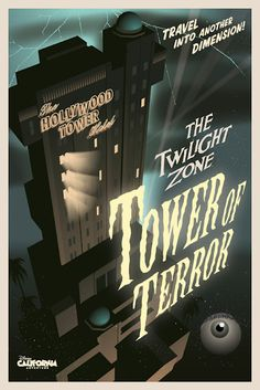 The Twilight Zone Tower of Terror poster, Disney California Adventure Poster Disney, Vintage Disney Posters, Retro Disney, Disney Love, Disney Stuff, Poster Vintage, Vintage Mickey, Disney Sketch, Draw Disney