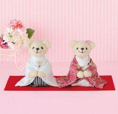 ピンクの色打ち掛け姿の幸せくまさん完成品<シェリーマリエ・ウェルカムベアコーナー>