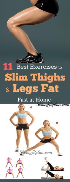 11 Best Exercises to Slim Thighs and Legs Fast at Home: Do you want to lose thigh and Legs fat? Discover here easy best thighs and legs workouts to lose inner thigh tone legs and butt fast at home. These workouts are effective to give you sexy and slim thighs and tone cellilute-fee legs in a week. #Legs #innerthigh #losethighfat #fatlossdiet Thinner Thighs, Tone Thighs, Slim Thighs, Slim Legs Workout, Leg Workout At Home, Fat Workout, Lose Thigh Fat, Lose Belly Fat, Lose Fat