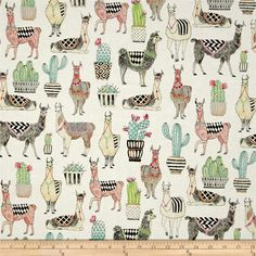 Michael Miller Lovely Llamas Lovely Llamas White from @fabricdotcom  From Michael Miller Fabrics, this whimsical collection features llamas, succulents, and bold, modern, geometric, prints. Perfect for quilting, apparel, and home decor accents. Colors include white, beige, tan, green, pink, orange, and aqua.