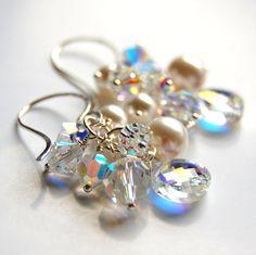 Crystal Bridal Earrings Swarovski Crystal and by GreenRibbonGems, $52.00