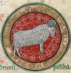 The Hunterian Psalter Glasgow University Library MS Hunter 229 folio detail of 'Aries' from March Zodiac Art, Astrology Zodiac, Astrology Signs, Zodiac Signs, Aries Art, Pisces, Medieval Manuscript, Medieval Art, Illuminated Manuscript