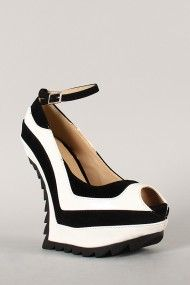 Liliana Ravey-8 Two Tone Heel Less Peep Toe Ankle Strap Curved Wedge
