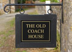 Stylish Hanging House Signs From The Sign Maker Choices Of Oak Framed Or Solid Wood With Wrought Iron Brackets In Lots Sizes