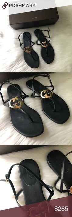 e23bcdd10 Gucci Shoes | Gucci Interlocking Heart Sandal | Color: Black/Gold | Size:  7.5