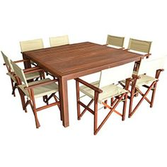 FIVEMORE | 8-Seater Square Table and Directors Chairs Set - Furniture - 5rooms.com
