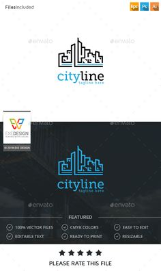 City Logo by Exe-Design Logo Template 100 Re-sizable vector 100 Editable text Easily customizable colors AI & EPS documents For any modification do not