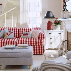 red gingham couch sarahcrouch Cottage Style Decor, Red Cottage, Coastal Cottage, Nantucket Cottage, Cozy Cottage, Decor Room, Living Room Decor, Home Decor, Living Area