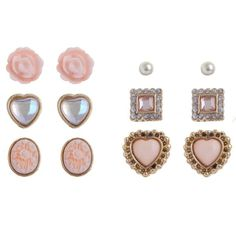 6 Pack Pink Gatsby Rose Heart Stud Earrings ($3.11) via Polyvore