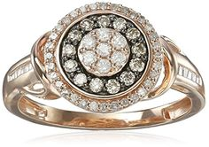 Pink Gold Plating over Sterling Silver White and Champagne Diamond Ring 12cttw IJ Color I2I3 Clarity Size 7 * Check out the image by visiting the link.(This is an Amazon affiliate link and I receive a commission for the sales)