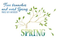 Check out Word SPRING and 2 tree branches by Helga Wigandt on Creative Market