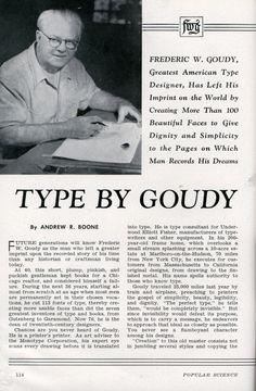 Goudy was featured in Popular Mechanics in 1942.