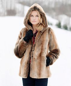 Another great find on #zulily! Tan Faux Coyote Fur Hooded Coat - Plus Too #zulilyfinds