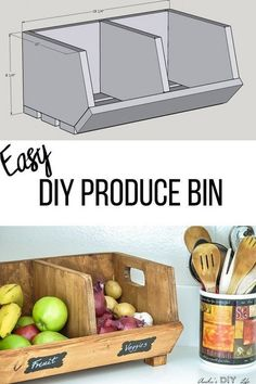 Easy DIY Vegetable storage Bin with divider. It is a perfect beginner woodworking project or a great&; Easy DIY Vegetable storage Bin with divider. It is a perfect beginner woodworking project or a great&; Diy Vegetable Storage Bin, Produce Storage, Storage Bins, Pallet Storage, Diy Pallet, Pallet Wood, Beginner Woodworking Projects, Diy Woodworking, Woodworking Furniture