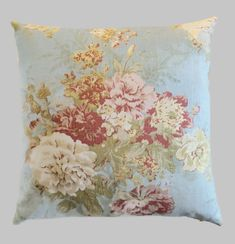 Shabby Chic Pillow, French Country Cottage Robin's Egg Blue Pink Sage Decor Floral Farmhouse Throw Pillow Cushion Cover Linen Accent Pillow by MarolizanaDesigns on Etsy https://www.etsy.com/listing/462343622/shabby-chic-pillow-french-country