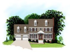 House Plan 92498 | Colonial Country Plan with 1998 Sq. Ft., 4 Bedrooms, 3 Bathrooms, 2 Car Garage