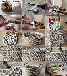 How to diy crochet rope basket with free pattern – Artofit Crochet Video, Crochet Diy, Crochet Home Decor, Crochet Rope, Crochet Crafts, Yarn Crafts, Crochet Stitches, Crochet Projects, Chunky Crochet