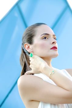 A timeless gem, these Emerald Green Tribal earrings by Melanie Auld will forever make your outfit shine! #jewelry #earrings #green #emerald #newdesigner