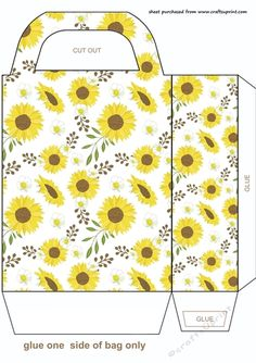 Sunflowers gift bag,you will need to print 2 sheets to make the gift bag