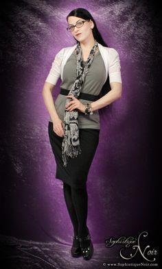 Professional attire; black pencil skirt; white cardigan, grey top; black and white scarf