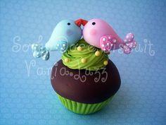 Cupcake casal de passarinhos