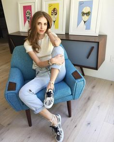 Chiara Ferragni is casual with tribal print sneakers.