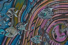 Ocean graffiti fish with piranha, blue, purple, Fresno, CA near Olive Street 2013