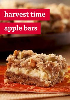Harvest Time Apple Bars – All the fall flavors you enjoy get layered together to create this cinnamon-speckled dessert treat that's wonderful for any time of year!