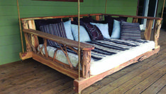 Porch Swing Bed - Queen What a great place to sip a cup of coffee while snuggled up with a great book! This is a solid wood swing bed with wonderful l Refurbished Furniture, Pallet Furniture, Porch Furniture, Furniture Projects, Art Projects, Outdoor Furniture, Wood Swing, Pallet Swing Beds, Craft Ideas