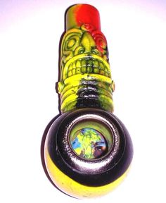 Tie Dye Totem Style Tobacco Smoking Pipe Collection Small Bowl Design Metal Edge