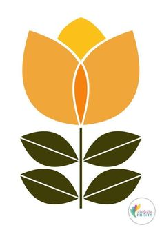 Scandinavian Design Flower Print orange by LoobyLouPrints Folk Art Flowers, Flower Art, Art Floral, Embroidery Patterns, Print Patterns, Illustration Blume, Scandinavian Folk Art, Mid Century Art, Fabric Painting